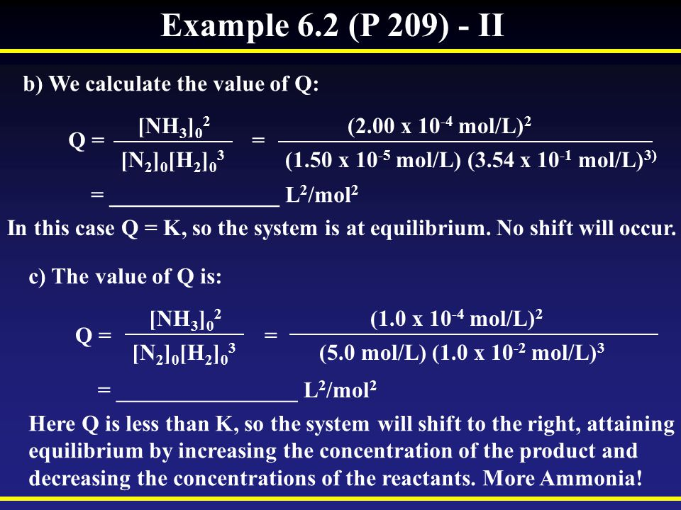Example 6.2 (P 209) - II b) We calculate the value of Q: [NH3]02